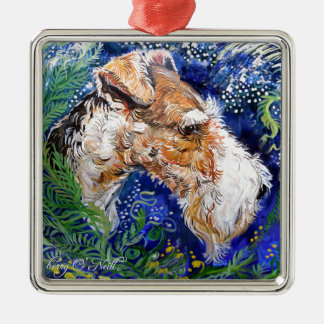 Fox Terrier Blue Silver-Colored Square Decoration
