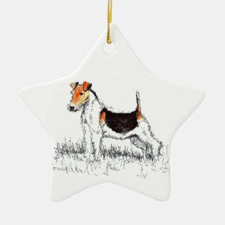 Fox Terrier Ceramic Star Decoration
