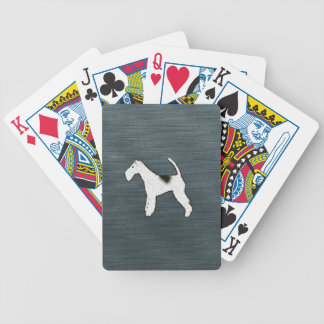 Fox Terrier Dog on Gray Blue Poker Cards