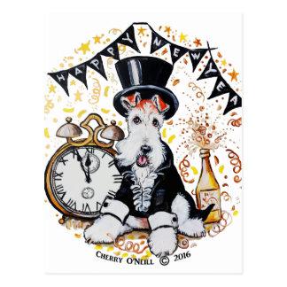 Fox Terrier Happy New Year Postcard