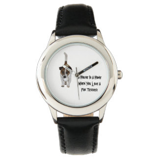 Fox Terrier, Love Is Logo, Kids Leather Watch. Watch