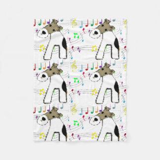 Fox terrier & Music Fleece Blanket