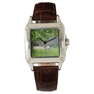 Fox_Terrier_Scare_Face_Ladies_Square_Leather_Watch Wristwatch