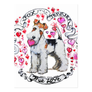 Fox Terrier Sweetheart Postcard