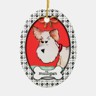 Fox Terrier Watercolor with Name Christmas Ornament