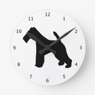 Fox Terrier wire-haired dog black silhouette Round Clock