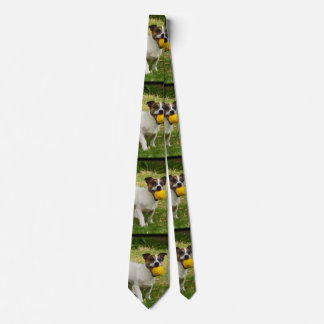 Fox Terrier With His Yellow Ball, Mens Silky Tie