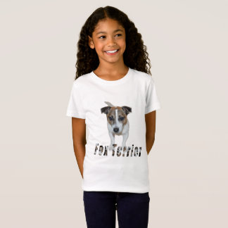 Fox Terrier With Logo, Girls White T-shirt