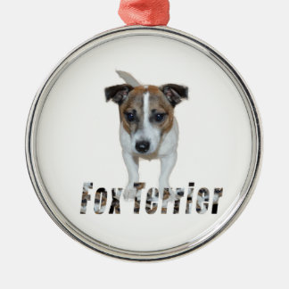 Fox Terrier With Logo, Metal Ornament. Silver-Colored Round Decoration