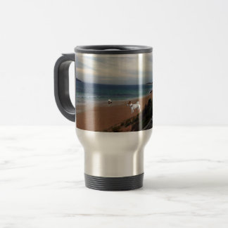 Fox Terriers On The Beach, Travel Coffee Mug