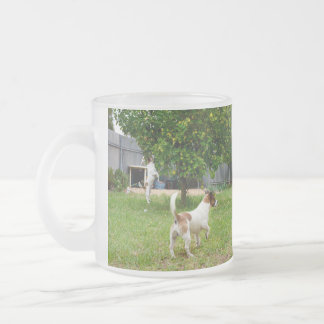 Fox Terriers Playtime, Frosted Glass Mug