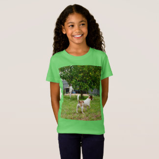 Fox Terriers Playtime, Girls Green T-shirt