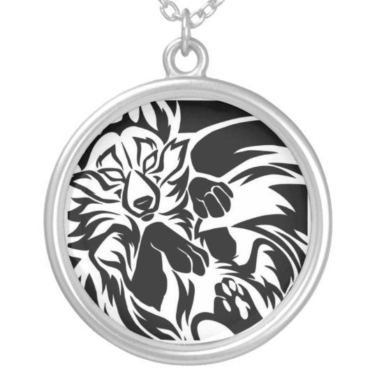 Fox tribal tattoo silver plated necklace