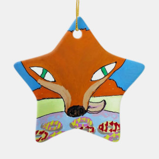 Fox trying to steal some foxy biscuits ceramic star decoration