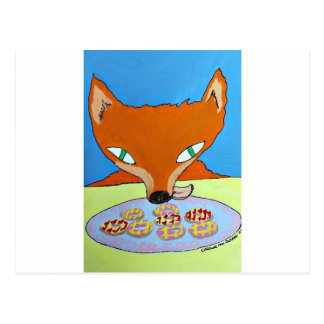 Fox trying to steal some foxy biscuits postcards