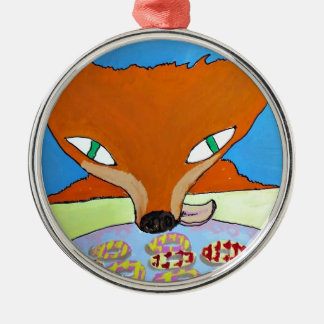 Fox trying to steal some foxy biscuits Silver-Colored round decoration