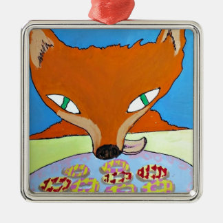 Fox trying to steal some foxy biscuits Silver-Colored square decoration