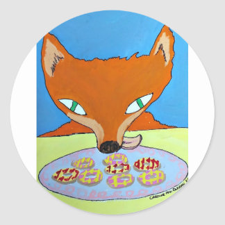 Fox trying to steal some foxy biscuits round sticker