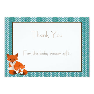 Fox Twins Baby Shower Thank You Note 9 Cm X 13 Cm Invitation Card