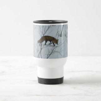 Fox Walking in Snow Travel Mug