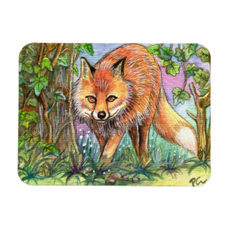 Fox Walking In The Woods Rectangular Photo Magnet