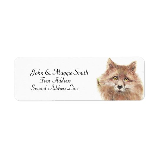 Fox  - Watercolor Animal- Address Label