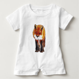 Fox Watercolor Baby Bodysuit