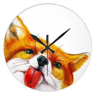 Fox Watercolor Large Clock