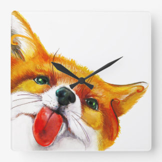 Fox Watercolor Square Wall Clock