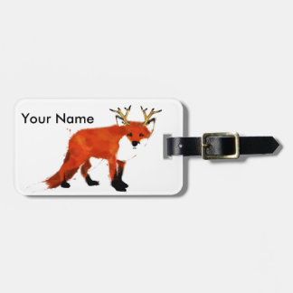 Fox Watercolour Luggage Tag
