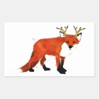 Fox Watercolour Rectangular Sticker