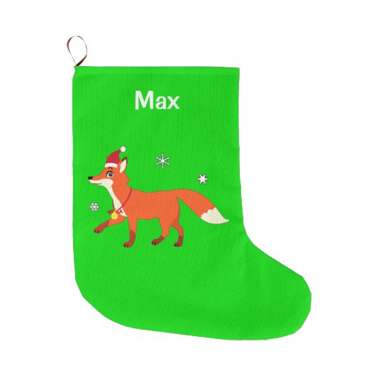 Fox with a Santa Hat Name Customisable Large
