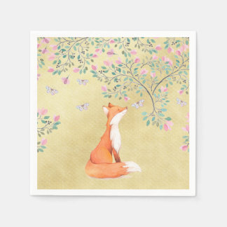 Fox with Butterflies and Pink Flowers Disposable Napkin