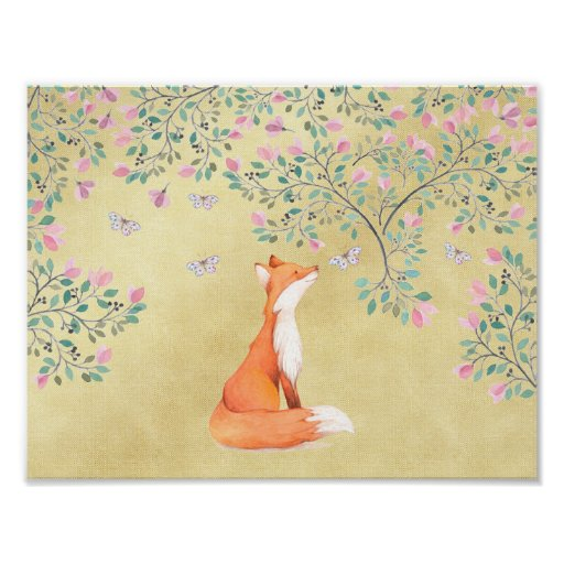 Fox with Butterflies and Pink Flowers Poster