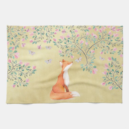 Fox with Butterflies and Pink Flowers Tea Towel