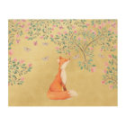 Fox with Butterflies and Pink Flowers Wood Wall Art