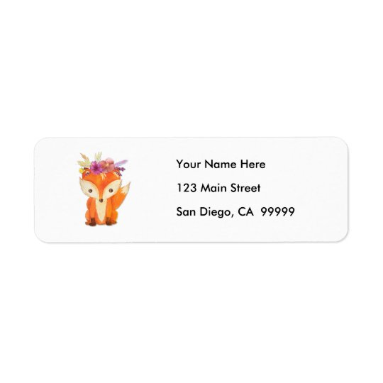 Fox with Flower Crown Return Address Label