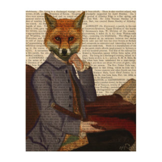 Fox With Flute Wood Print