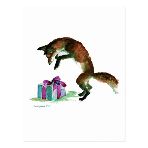 fox with present post card