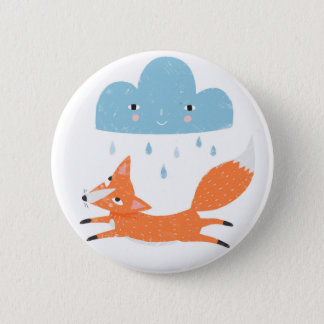 Fox with rain cloud 6 cm round badge