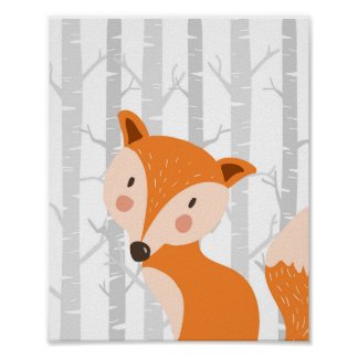Fox Woodland Animal Nursery Wall Art Print
