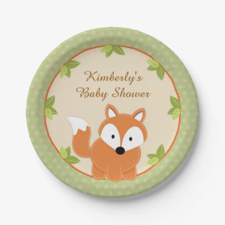 Fox Woodland Baby Shower Paper Party Plates 7 Inch Paper Plate