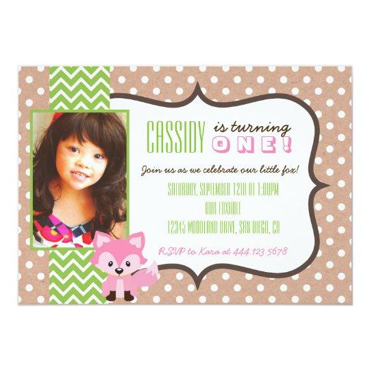 Fox Woodland First Birthday Party Girl Invitation