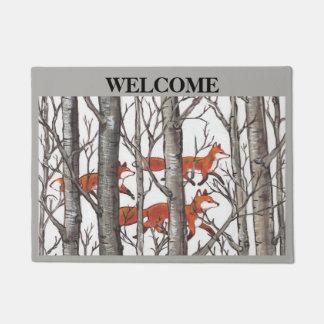 Fox Woods Gray Welcome Doormat Personalize