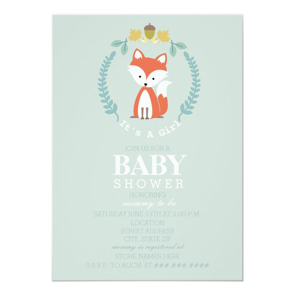 Fox Wreath Baby Shower - Girl