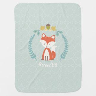 Fox Wreath Quatrefoil Baby Blanket - Girl