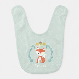 Fox Wreath Quatrefoil Personalized Baby Girl Bib