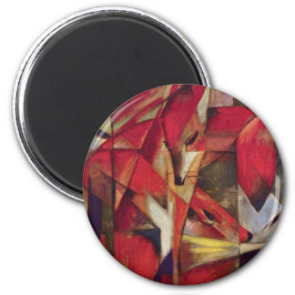Foxes by Franz Marc, Vintage Abstract Cubism Art 6 Cm Round Magnet