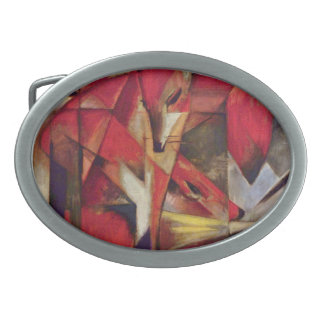 Foxes by Franz Marc, Vintage Abstract Cubism Art Oval Belt Buckle