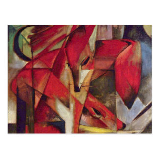 Foxes by Franz Marc, Vintage Abstract Cubism Art Postcard